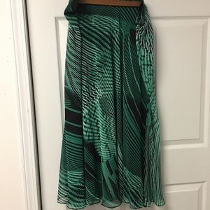 Green Patterned Maxi Skirt